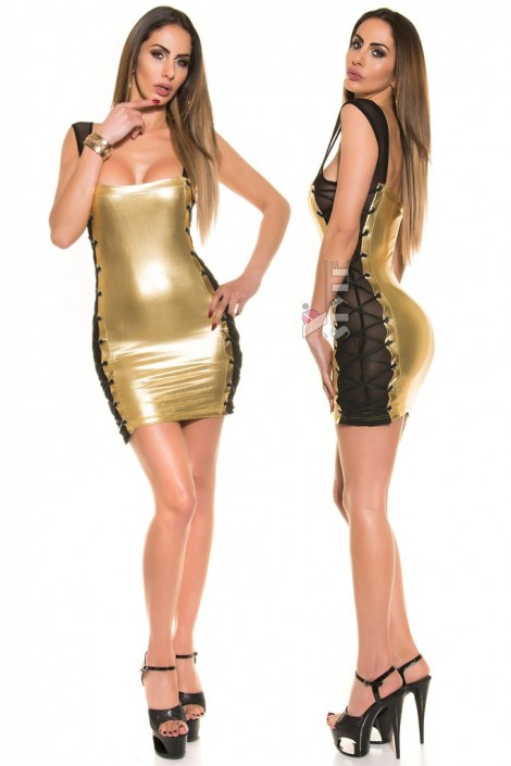 Блестящее мини-платье со шнуровкой и сеточкой (127147)