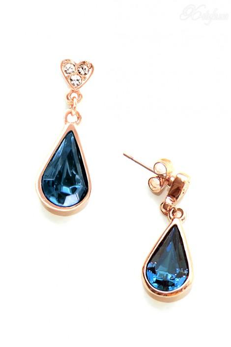 Серьги с синими камнями и позолотой Aneis (709130)