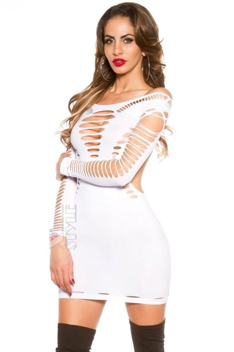 Белое платье с прорезями KC141 (127141)