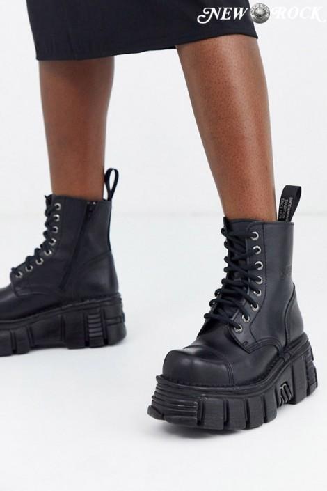 Черные кожаные ботинки на платформе NM083 (NEWMILI083-S39)