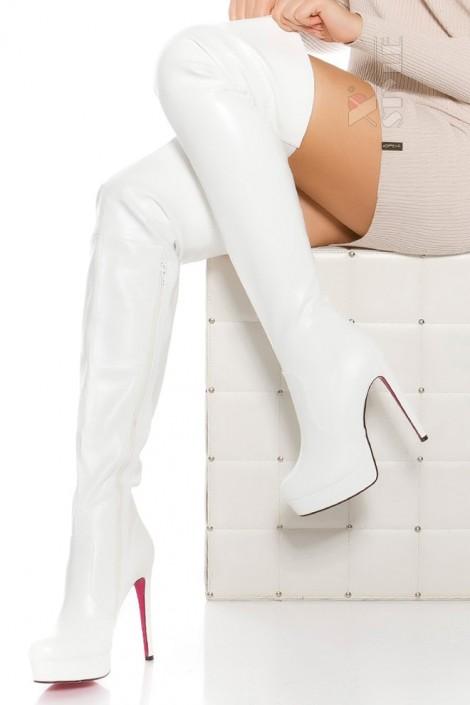Белые ботфорты на высоком каблуке MF040 (310040)