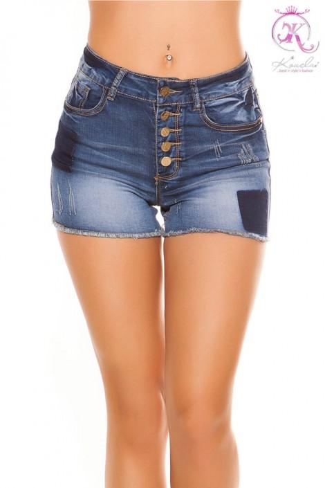 Короткие джинсовые шорты с высокой талией KC10907 (110907)