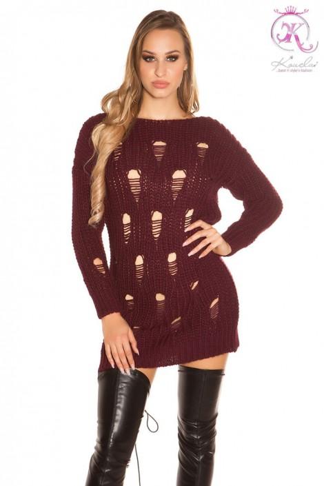 Рваный спереди свитер-платье KouCla (105371)