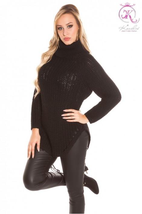 Черный свитер с разрезами KouCla (111219)