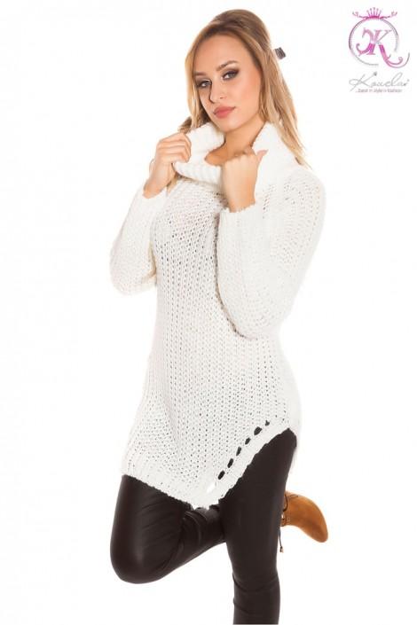 Белый женский свитер с разрезами KC1220 (111220)