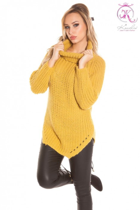Женский свитер горчичного цвета KouCla (111221)
