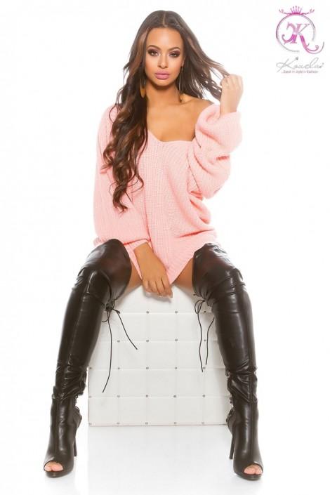 Розовый свитер оверсайз KC224 (111224)