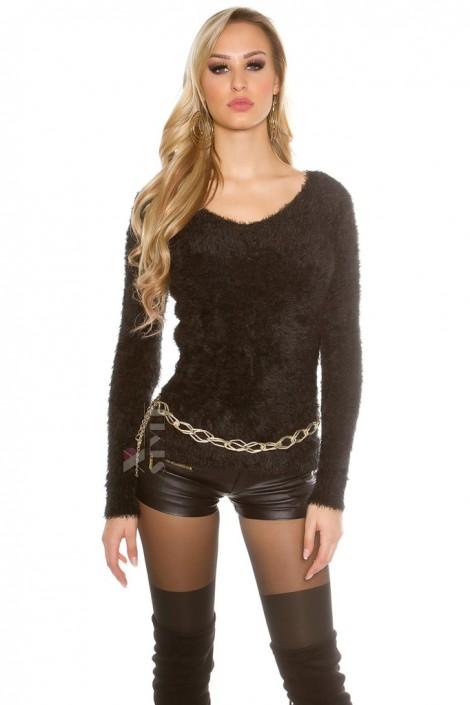 """Черный """"пушистый"""" свитерок PU8002 (111229)"""