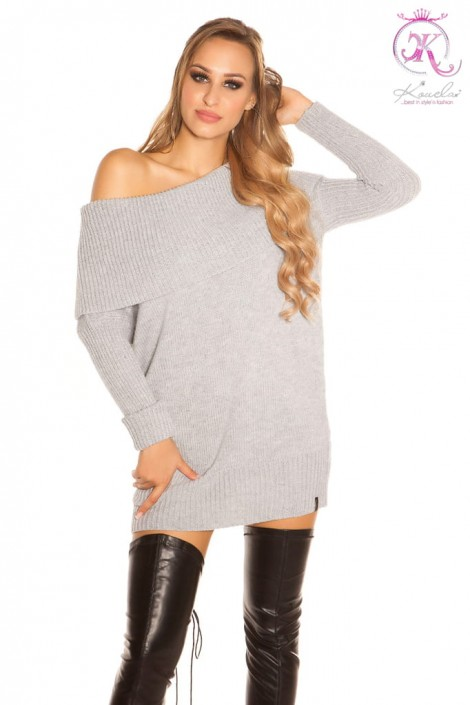 Серый свитер-туника на одно плечо KouCla (111235)