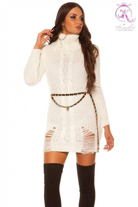 """Белое """"рваное"""" платье-свитер KC5009 (165009)"""
