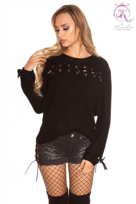 Женский свитер со шнуровками KouCla (111204)
