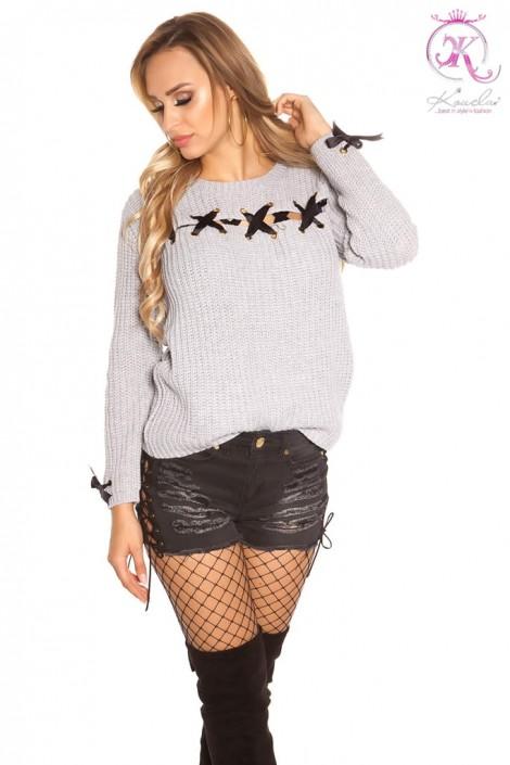 Серый женский свитер со шнуровкой KouCla (111206)
