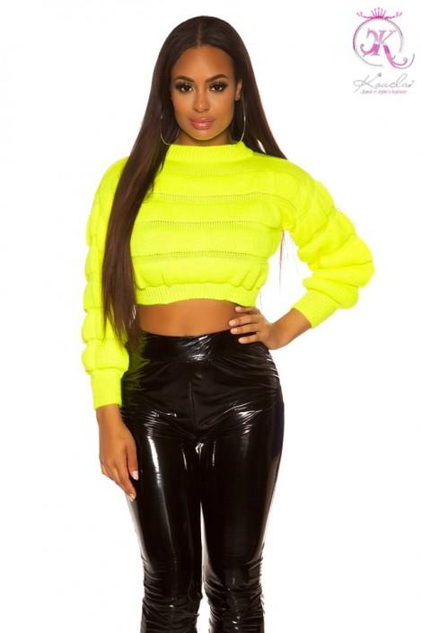 Укороченный вязаный пуловер (неоновый желтый) (111242)