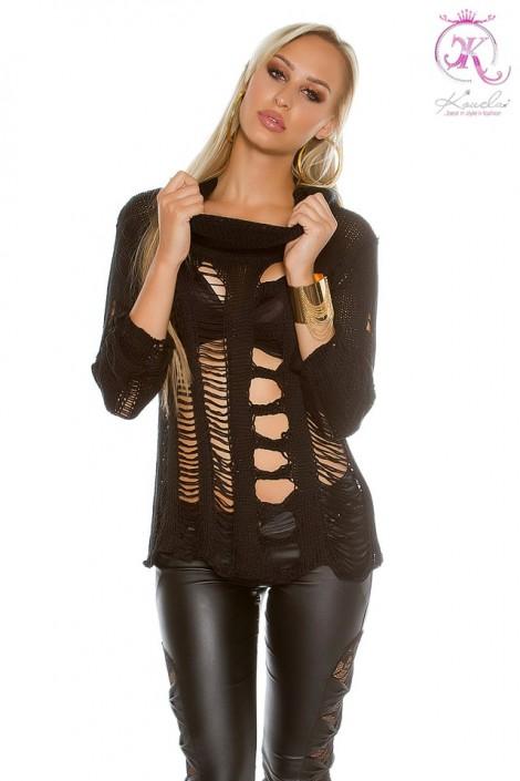 Рваный черный пуловер KouCla (111253)