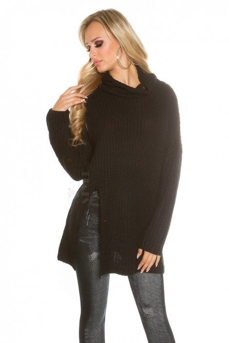 Черный свитер оверсайз с разрезом KouCla (111255)
