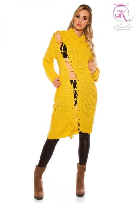 Платье-свитер с широким воротником (горчица) (105364)