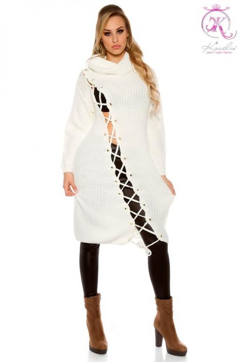 Белое платье-свитер KC5366 (105366)