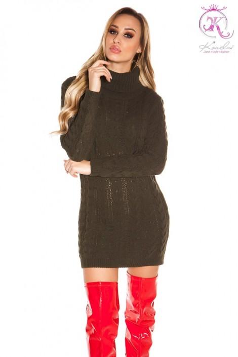 Свитер-платье цвета хаки с высоким горлом KC5475 (105475)