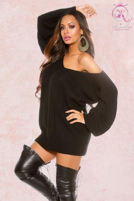 Черный свитер-платье на одно плечо KC1217 (111217)