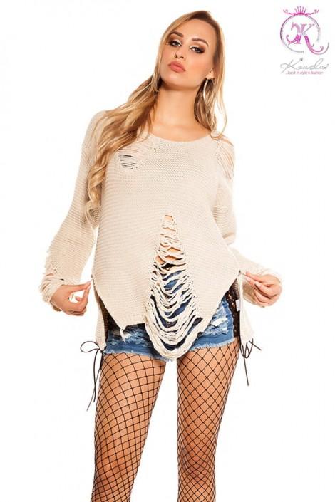 Рваный бежевый свитер с молниями (111195)