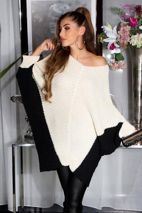 Двухцветный свитер-платье на одно плечо KouCla (111260)