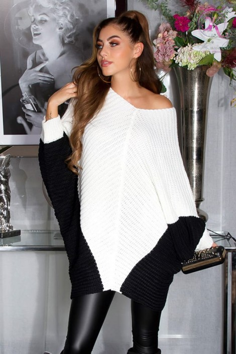 Платье-свитер на одно плечо кремового цвета KC1264 (111264)