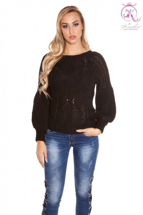 Черный фактурный свитер с рукавом-фонариком KC1277 (111277)