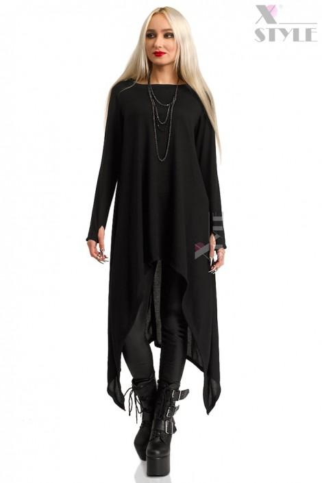 Длинный черный свитер с рукавами-митенками (111185)