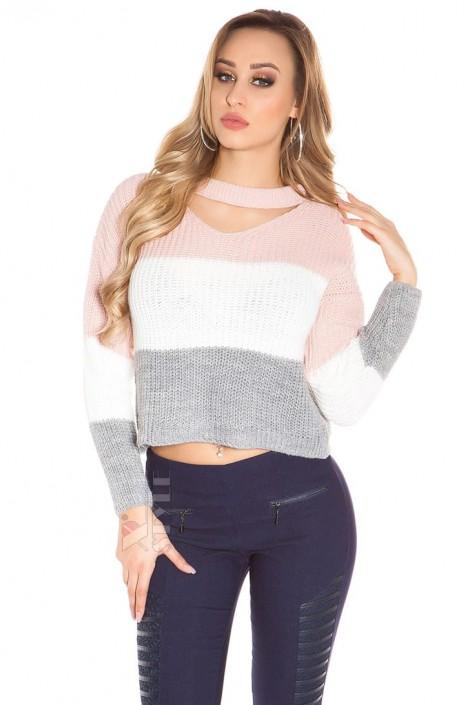 Вязаный пуловер с чокером KC91 (111191)