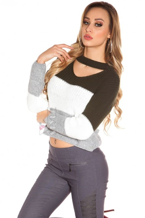 Женский трехцветный пуловер K194 (111194)