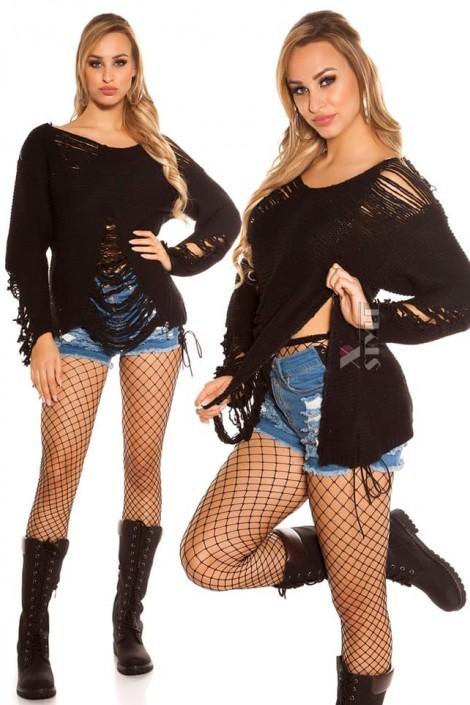 Рваный черный свитер Koucla (111196)