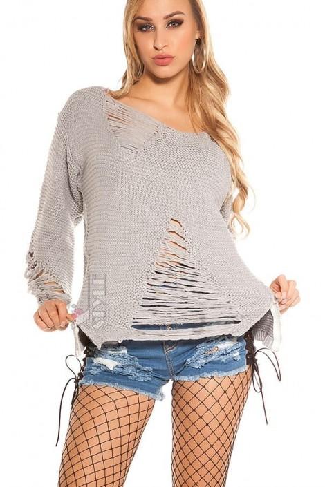 Рваный серый свитер с молниями (111197)