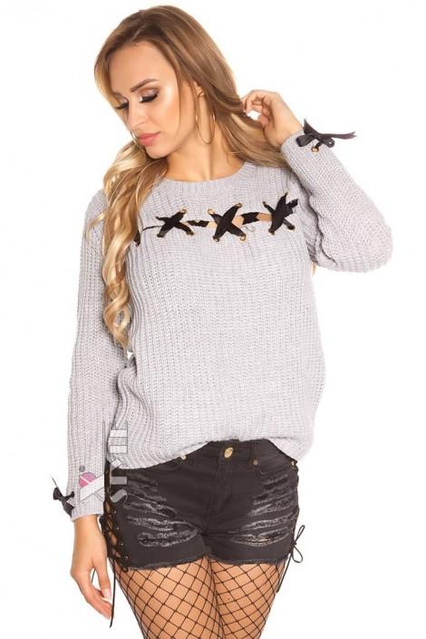Серый женский свитер со шнуровкой и лентами (111206)