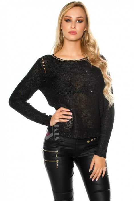 Плетеный черный джемпер UFc55 (111213)