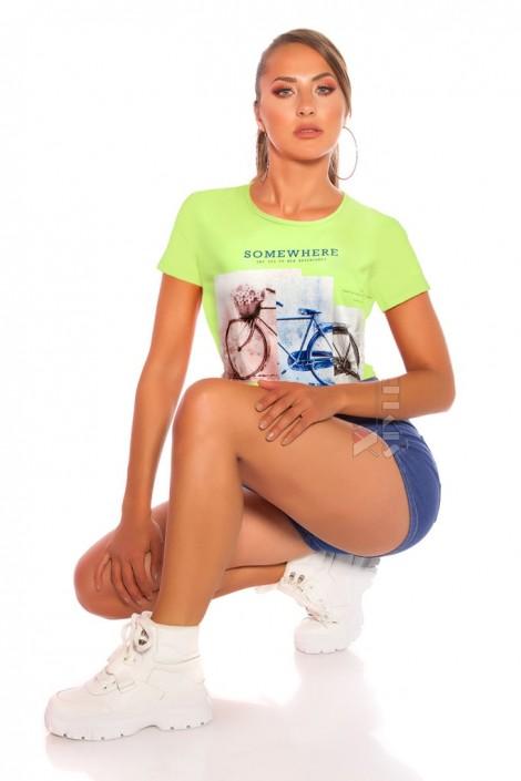Салатовая футболка с рисунком XC2113 (102113)