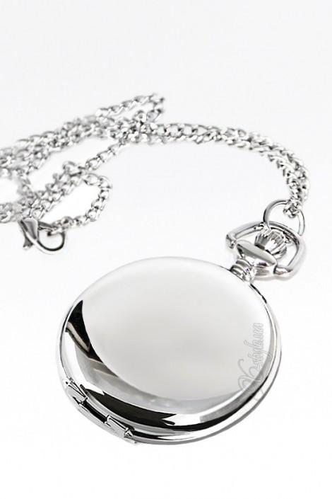 Карманные серебристые часы с цельной крышкой (340040)