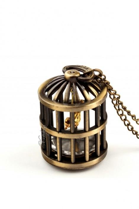 Кулон-часы с птичьей клеткой (350102)