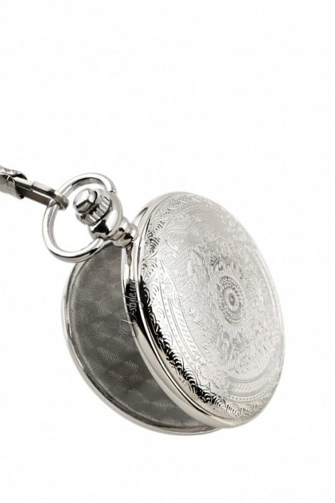 Серебристые часы с красивой гравировкой (340059)