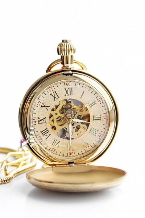 Золотистые карманные часы в подарочной упаковке (330041)