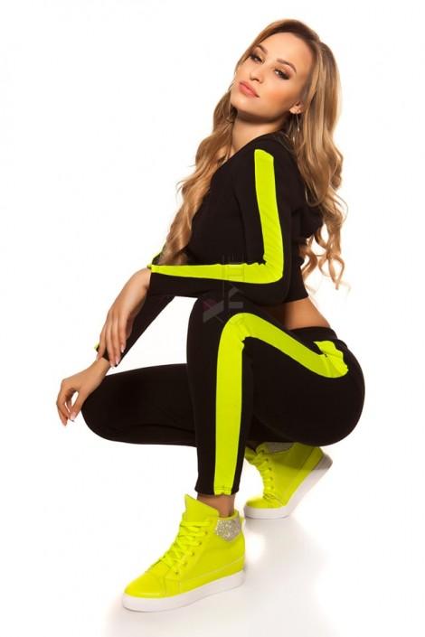 Костюм Workout женский (черный/неоновый желтый) (138051)