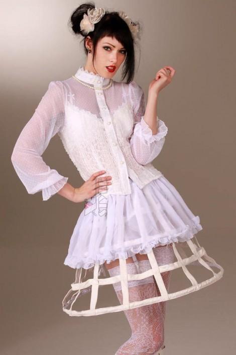 Каркасная белая юбка (107164)