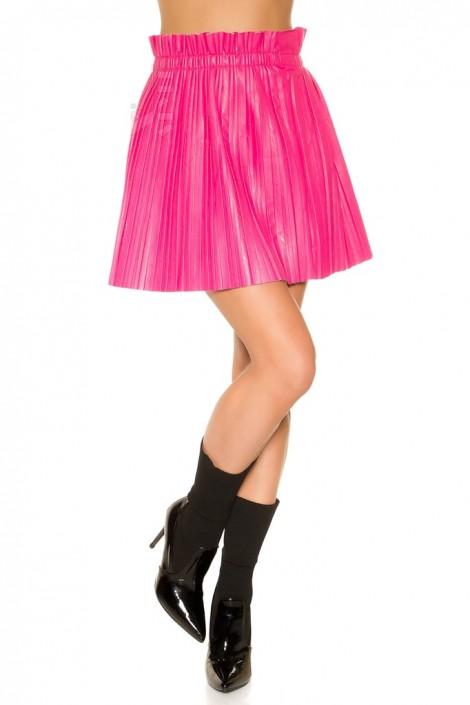 Плиссированная юбка под кожу (фуксия) (107176)