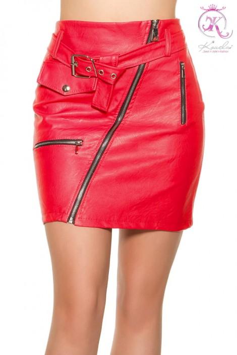 Красная кожаная юбка KouCla (107182)