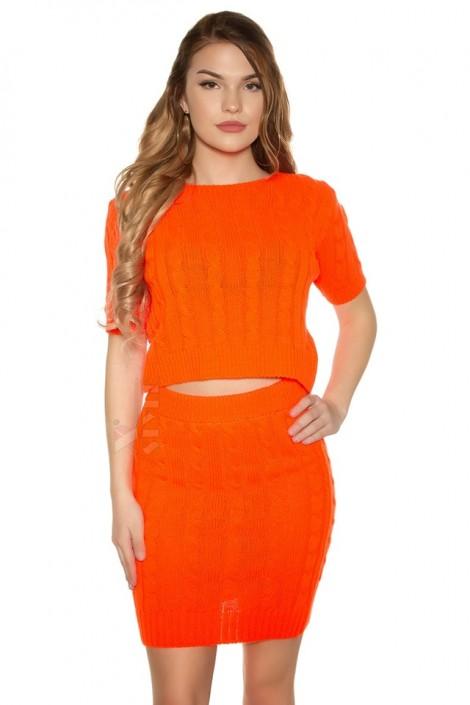 Яркий вязаный джемпер-топ и юбка (Neon Orange) (133012)