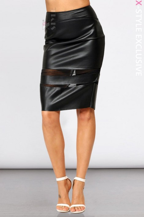 Кожаная юбка с прозрачными вставками X7110 (107110)
