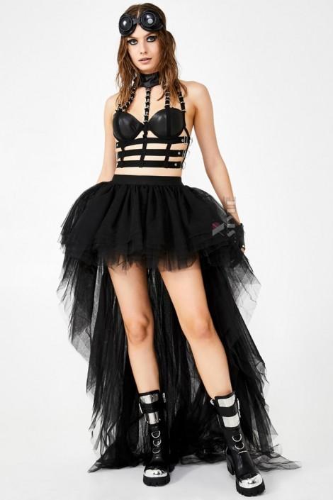 Фестивальная черная юбка-шлейф X7212 (107212)