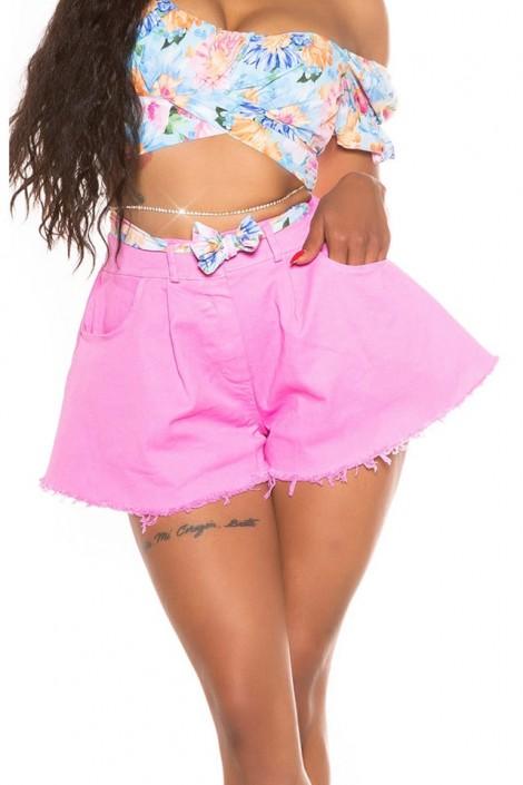 Широкие розовые юбка-шорты MF7007 (117007)
