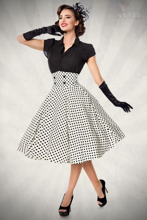 Винтажная юбка с высоким поясом (107132)