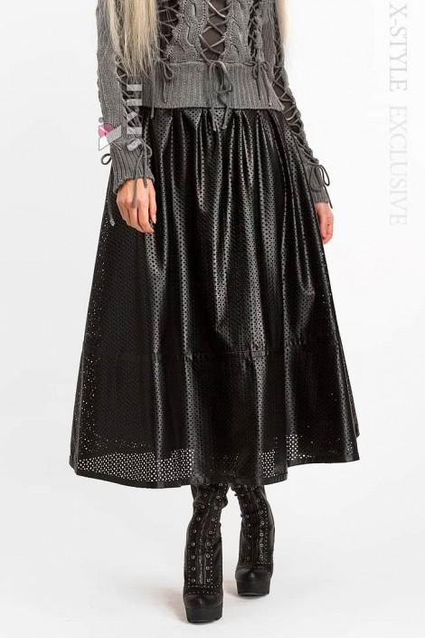 Длинная юбка клеш из перфорированной кожи X-Style (107144)