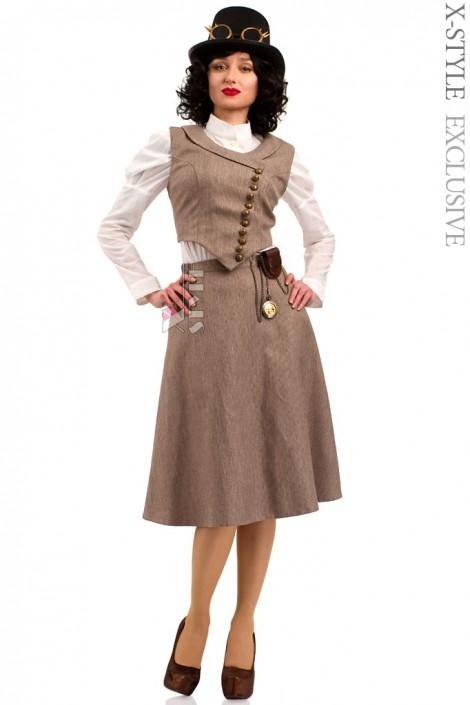 Костюм Стимпанк (жилетка, юбка, шляпа, очки, чехол с часами) (118038)